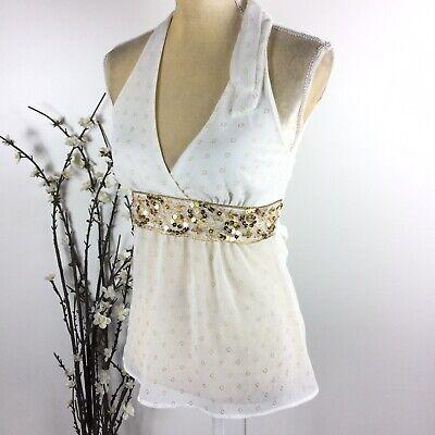 XXI Women Size S White Sheer Halter Sequined Sleeveless Vneck Top 7F