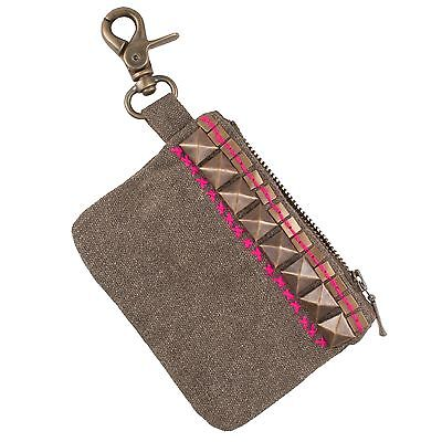 (Studded Canvas Pouch w/ Clip | Coin Purse | Wallet | Handcrafted in India)