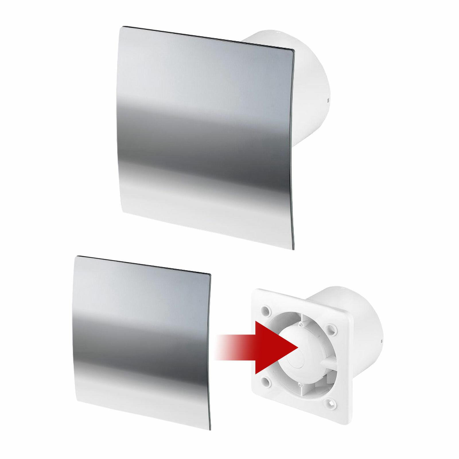 Wand-Ventilator Ø 100 125 WEIß CREME SILBER WC Decken-Bad-Lüfter Rückstauklappe