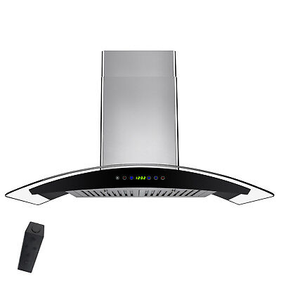 "30"" Stainless Steel Wall Mount Range Hood with Gas Sensor Remote Control Glass"