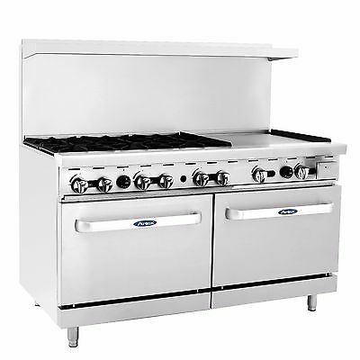 Atosa Ato-6b24g 60 Gas Range With 6 Burners24 Griddle2 Ovens