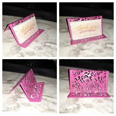 New Fuchsia Hot Pink Floral Metal Business Card Holder With Flowers