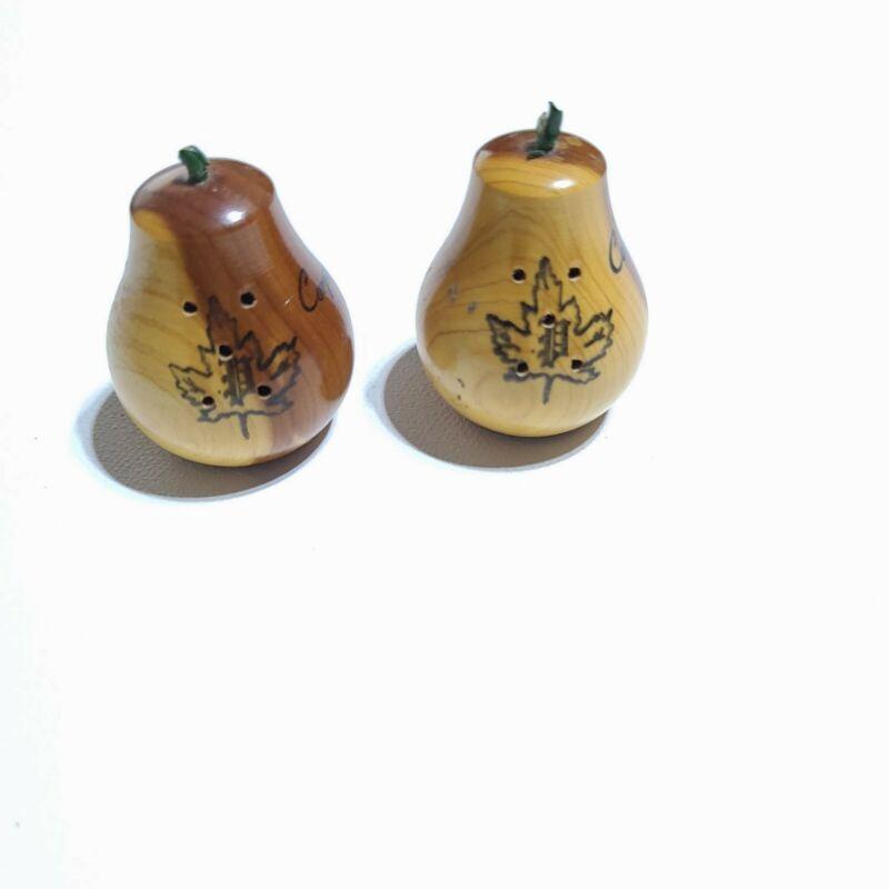 Vintage Miniature? Wood Pear Salt and Pepper Shakers, Souvenir Corpas Christy TX