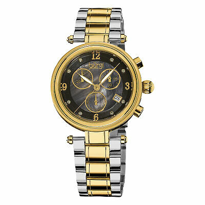 Women's Burgi BUR080TTG Chronograph MOP Diamond Two-tone Stainless Steel Watch