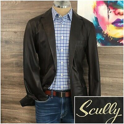 Mens SCULLY Western 2 Button Brown Leather Jacket Sport Coat Rockabilly Size 38