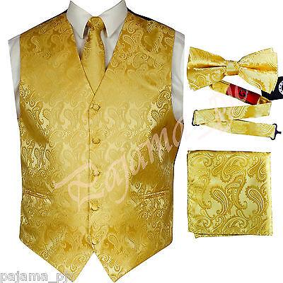 Gold Vest (GOLD XS to 6XL Paisley Tuxedo Dress Vest Waistcoat & Neck tie & Bowtie And)