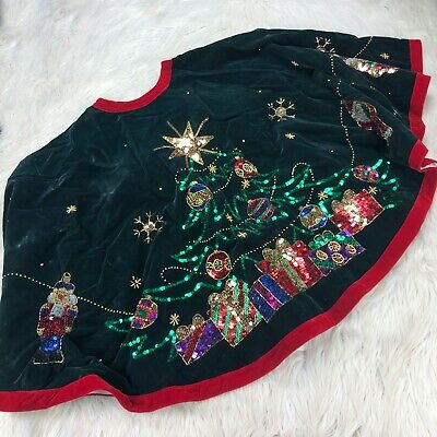 Vintage Velvet Beaded Sequin Christmas Tree Skirt Ornaments Snowflakes Santa