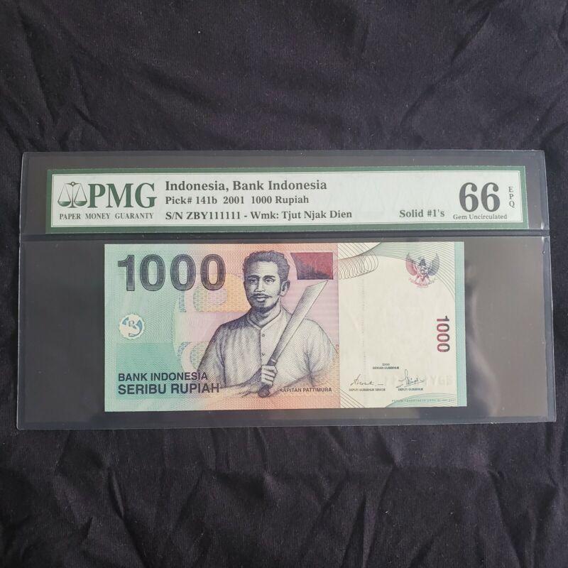INDONESIA 1000 RUPIAH 2001 P# 141b SOLID #1 SUPERB GEM UNC PMG 66 EPQ
