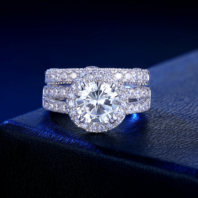 4ct Engagement Ring For Women Sterling Silver Round Aaaaa Cz Wedding Band Set