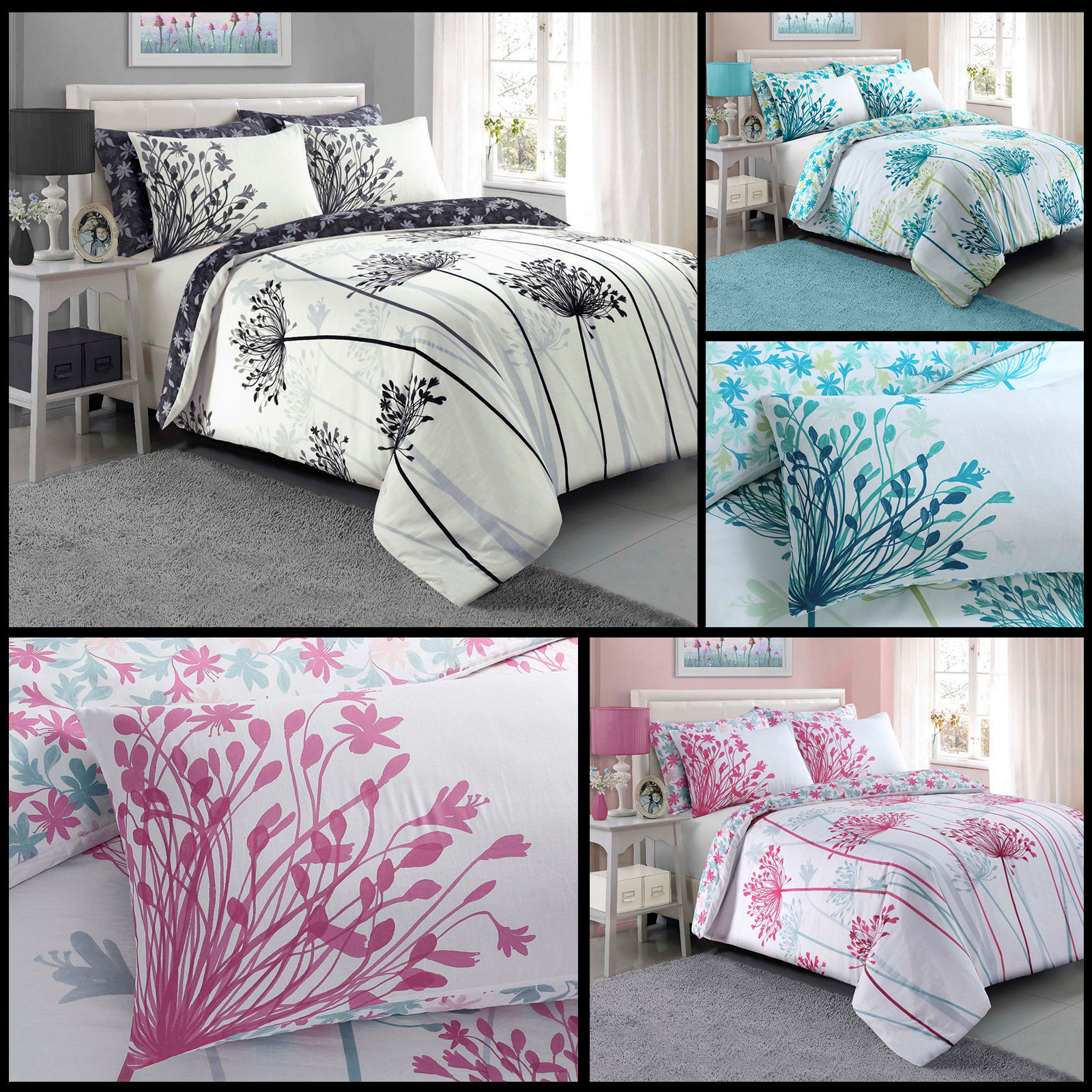 Meadow Floral Luxury Duvet Covers Quilt Cover Reversible Bed