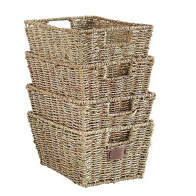 VonHaus Large Set of 4 Seagrass Storage Organizer Baskets with Insert Handles