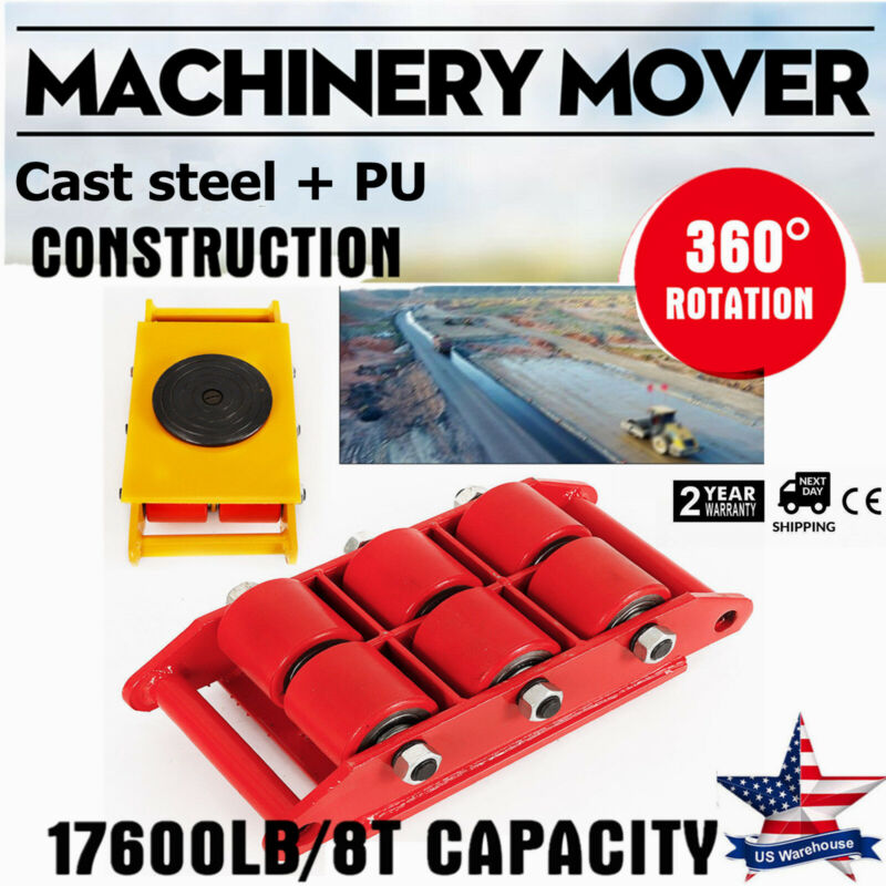 Heavy Duty Machine Dolly Skate Roller Machinery Mover 8t 17600lbs Rotation Cap