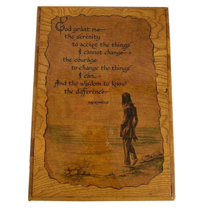 Vintage Wood Wooden Wall Plaque Serenity Prayer Decoupage Burnt Edge Paper