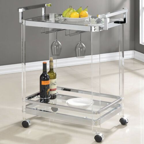 Modern 2 Tier Clear Acrylic Bar Cart Kitchen Serving Chrome Clear Tempered Glass