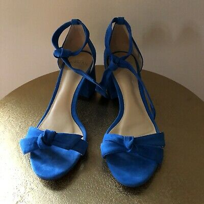 Alexandre Birman Clarita Block Heel Bow Tie Sandals Blue Suede Size 37 MINT