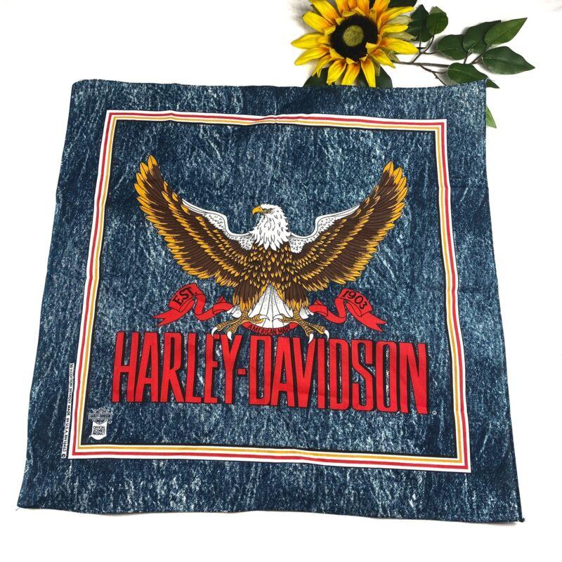 Vintage Harley Davidson Motorcycle Bandana Righteous Ruler Eagle RARE Denim