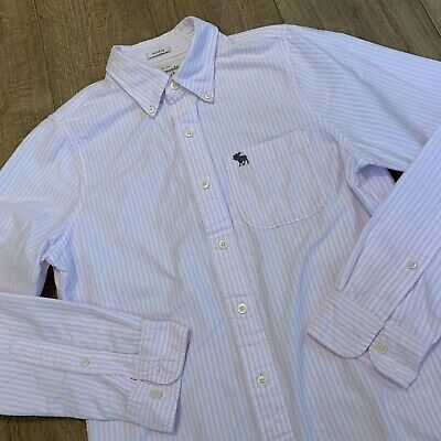 Abercrombie & Fitch Mens Muscle Fit Long Sleeve Shirt Pink & White Stripe Medium