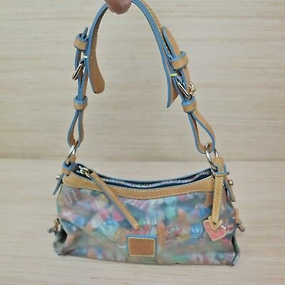 Dooney & Bourke East West Slouch:Clear Cover Candy Line Leather Blue Trim Strap  East West Lined Tote