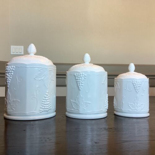 Vintage Milk Glass Canisters w/ Lid SET White Indiana Colony Grape Harvest S M L