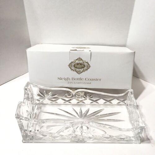Crystal Wine Bottle Holder Christmas Sleigh Godinger Shannon Made Czech New Box