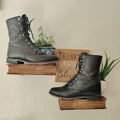 Vintage Justin 505 Hiram Leather Riding Granny Boots Kilties Black Lace Size 7 C