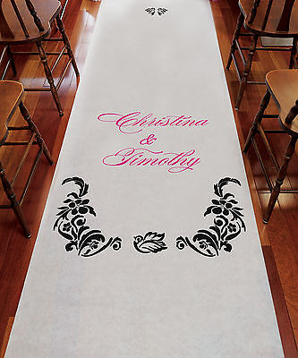 Love Bird Damask PERSONALIZED Aisle Runner Wedding Ceremony Decoration  - Personalized Wedding Aisle Runner