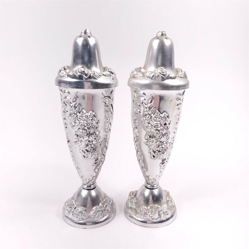 "Silver Plastic Tall Floral Rose Design Tall Salt & Pepper Shakers 6"" Tall"
