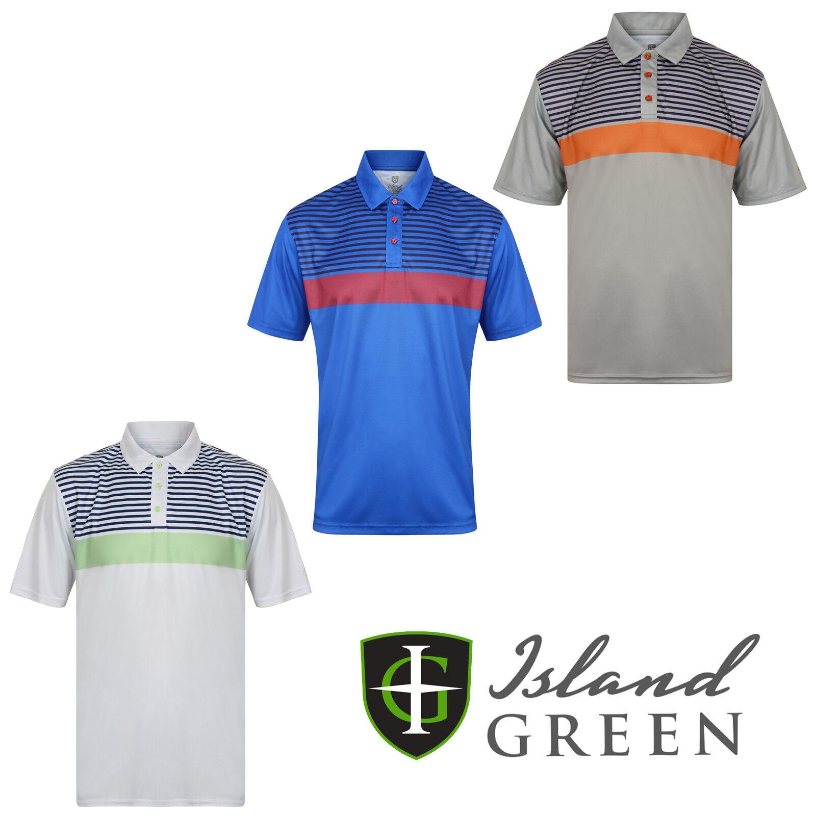 Island Green Mens Golf Polo Shirts Striped Short Sleeve Casual Shirt