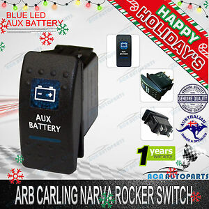 ARB CARLING NARVA ROCKER SWITCH AUX BATTERY DUAL BLUE LED ON OFF Car Boat 12/24V