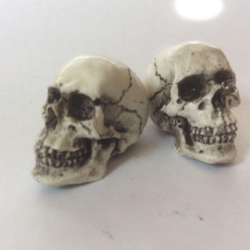 American Made 2 Skulls Skeleton head Goth Punk Human skull Harley Motorcycle 09