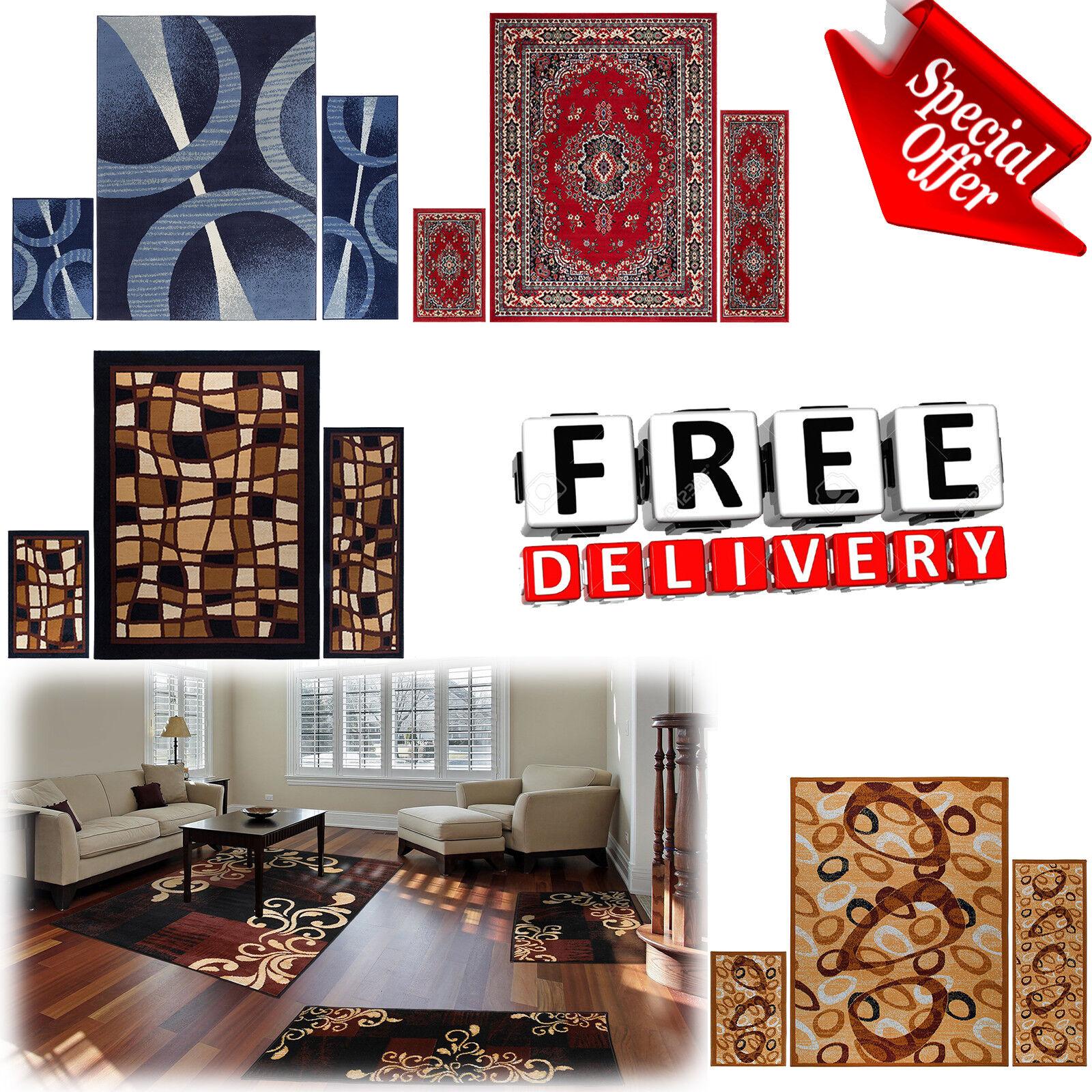 Area Rug Set 3 Piece Red Carpet Living Room Bedroom Modern C