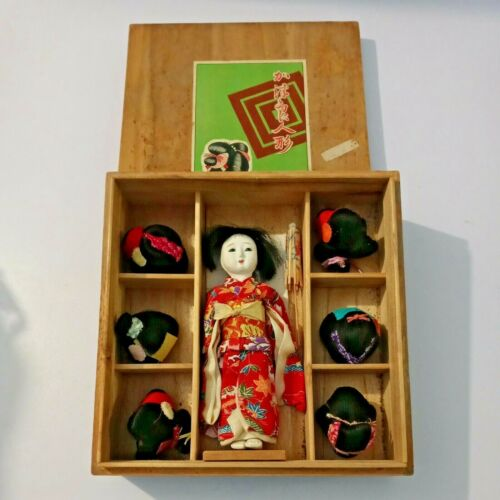 Tokyo Kyugetsu Boxed in Wood Japanese Lady Doll with Six Wigs