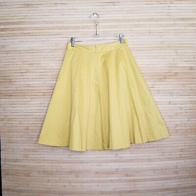 Very cute Boden Mustard Yellow A-Line Cotton Skirt back zip Size US 8 R A-line Back Zip Skirt