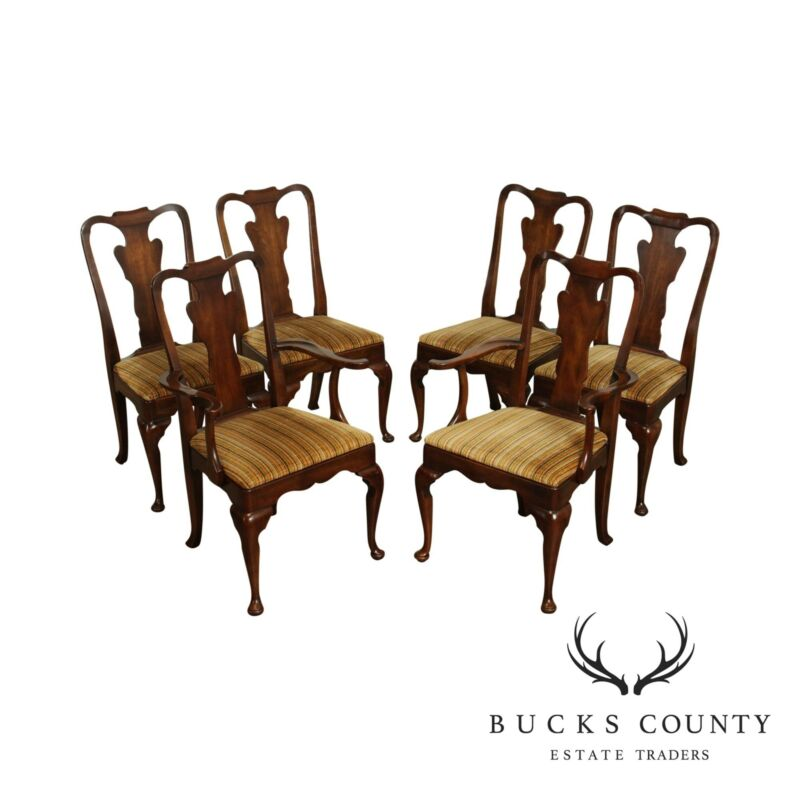 Statton Oxford Cherry Queen Anne Style Set 6 Dining Chairs