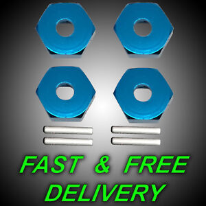 4x 12mm Alloy Wheel Hex Aluminium 1/10 Blue with Drive Pins Metal Tamiya RC UK x