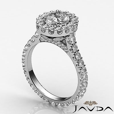 2.5 ct Oval Diamond Engagement 14k White Gold F VS2 Clarity GIA Halo Pave Ring