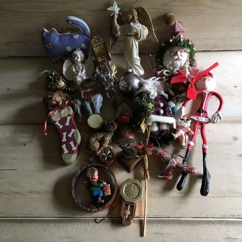 Vintage Christmas Ornament Lot Santa Claus Angels Animals Holiday Decorations