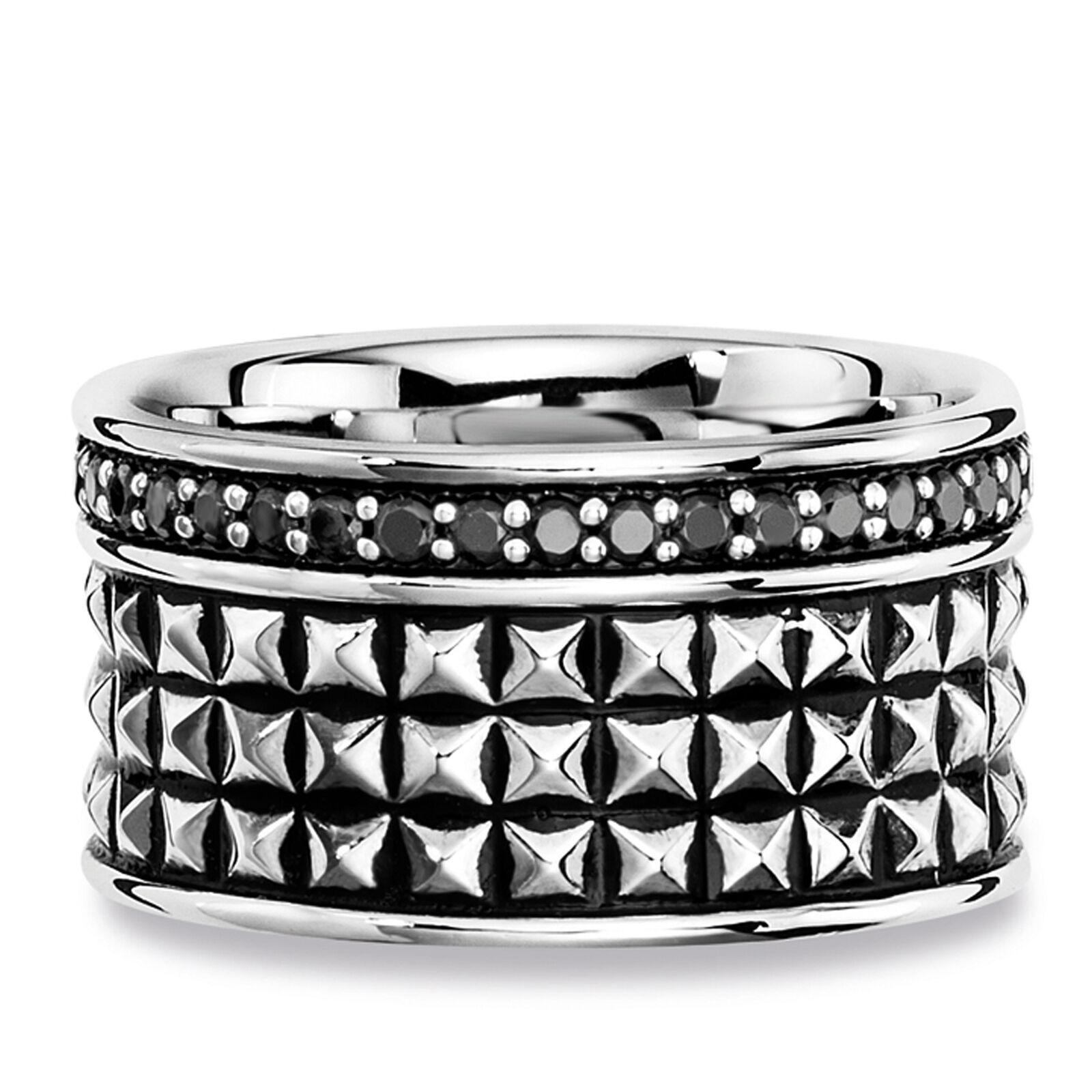 cai men Ring 925// Sterling Silber 40x Spinell schwarz Royal Punk Design Herren