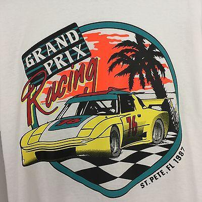 Vtg Grand Prix Racing T Shirt 87' Retro Neon Color Tee Custom Tuner Car S M L XL