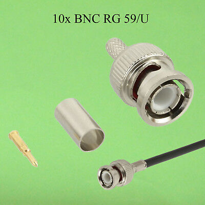 10 BNC Crimpstecker, RG58 ,Video Kabel , Funktechnik Goldpin  RG 58/U Koax (12 Bnc Koax Video