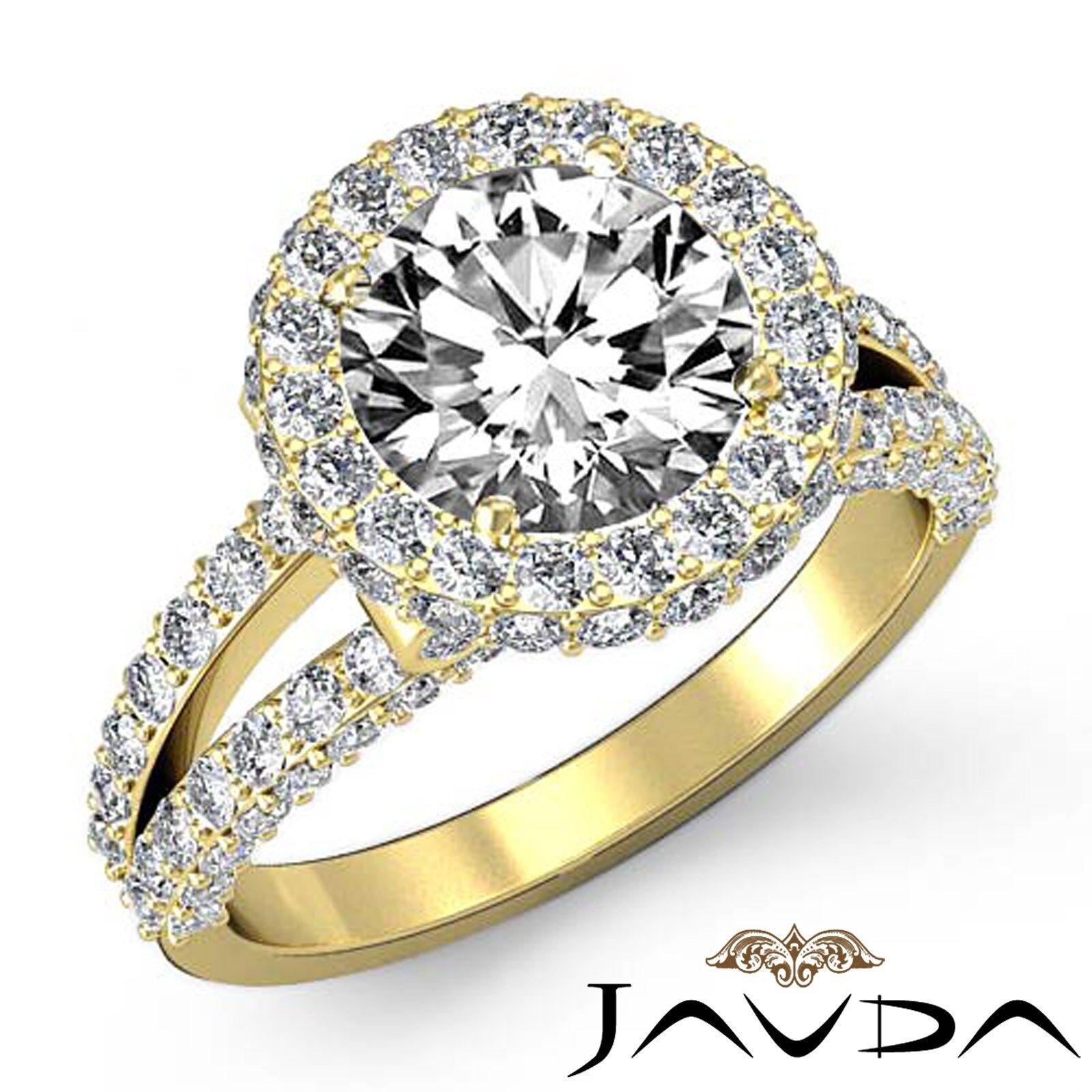 Circa Halo Split Shank Round Diamond Engagement Bezel Set Ring GIA F VS1 2.9 Ct