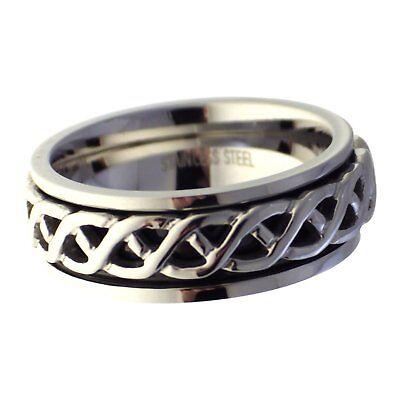 Celtic Weave Spinner Ring Mens Womens Stainless Steel Band 7mm Size 8-13