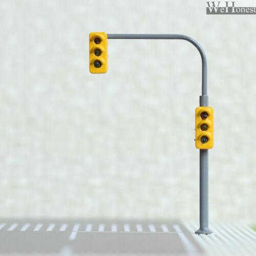4 x traffic lights HO OO crossing walk pedestrian LED street signals #B3C3RHOR