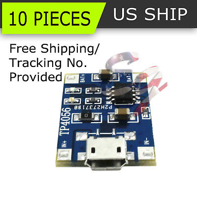 10pcs 5v Mini Usb 1a 18650 Lithium Battery Charging Board Charger Module Tp4056