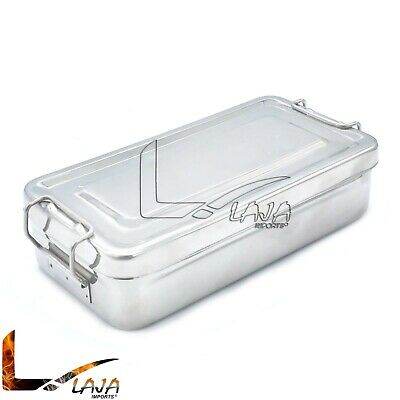 Stainless Steel Surgical Tray Dental Dish Lab Instrument Tool With Lid 8x4x2