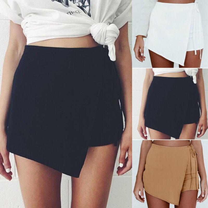 Damen Shorts Kurzhose Hotpants Capri Kurze Hose Sommer Strand Hosenrock Minirock