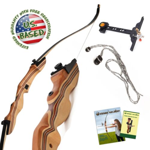 """Takedown Recurve Bow 62"""" Archery Hunting bow, 15-60LB. Draw weight, Right & Left"""