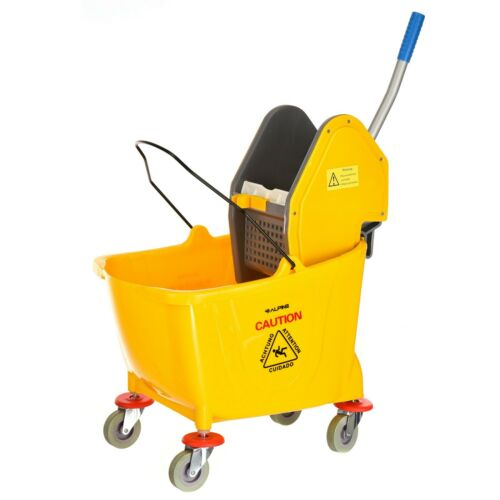 Alpine Industries 36 Quart Yellow Down Press Commercial Combo Mop Bucket