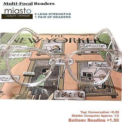 MIASTO MULTI-FOCAL COMPUTER READER READING GLASSES+1.50 NO LINE (Anti Glare Clear Glasses)