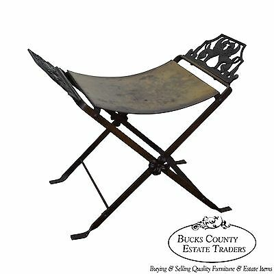 Antique Oscar Bach Style Iron X Base Bench Stool w/ Winged Griffins